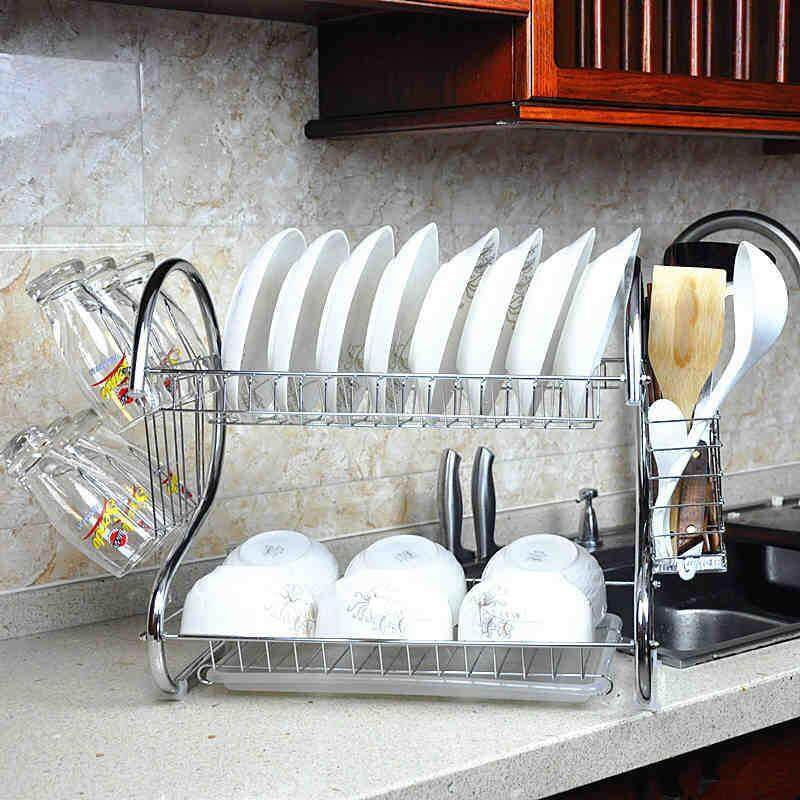Sale 2 Layers Dish Drying Rack Drainer Tray Cutlery Utensil Organizer Stand Stainless Intl China