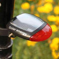 2 LED Bike Bicycle Tail Light Solar Energy Rechargeable Safety Red Rear Lamp New