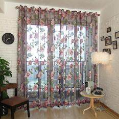 2 Pcs Curtain Peony Flower Windows Panel Living Room Bedroom Curtains color:beige size:2