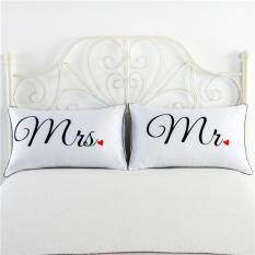 2 Pcs/set Couples Pillow Cases Anniversary Wedding Gifts style:mr mrs