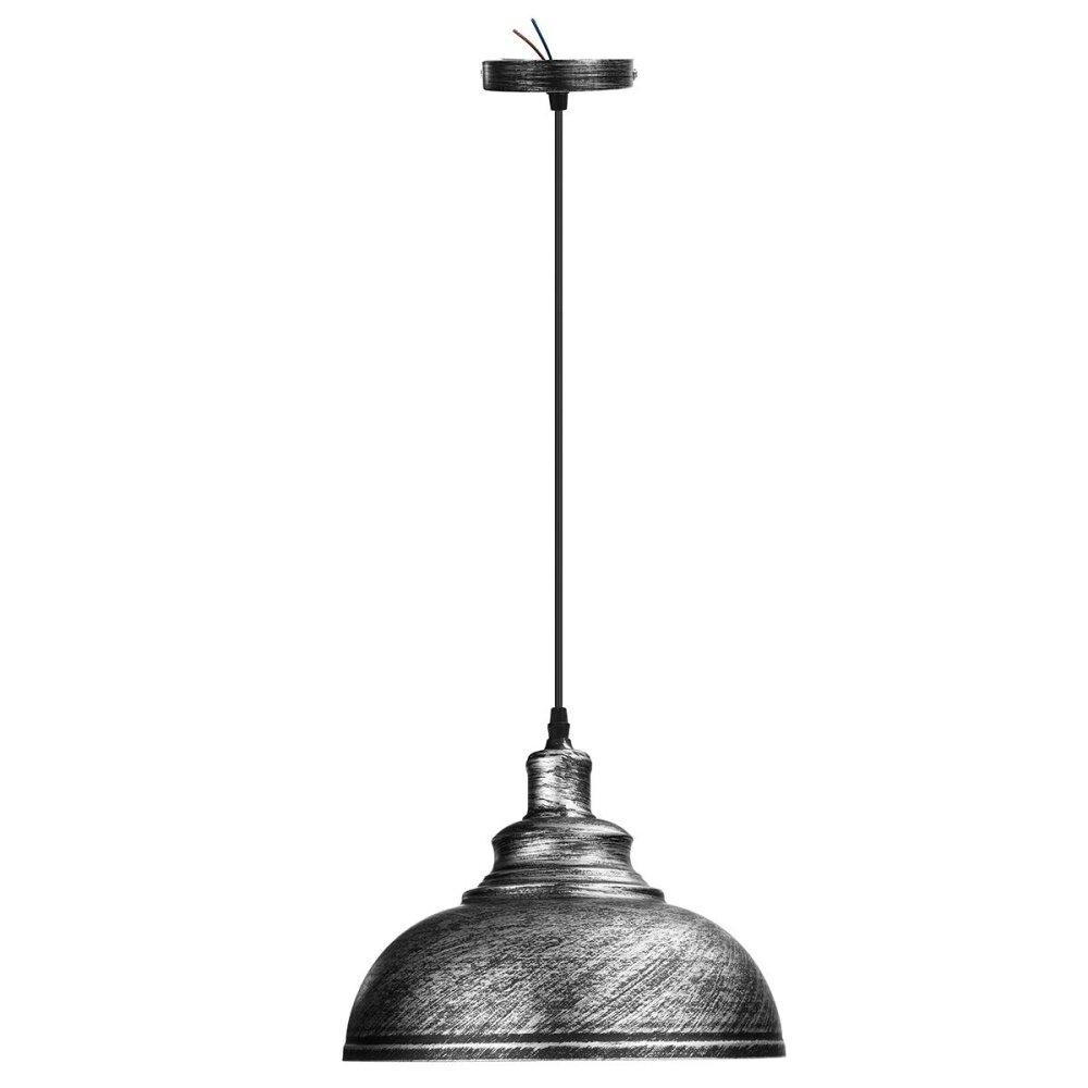 2 x Vintage Ceiling Light Retro Pendant Lamp Industrial Loft Iron Chandelier Fixture Silver - intl