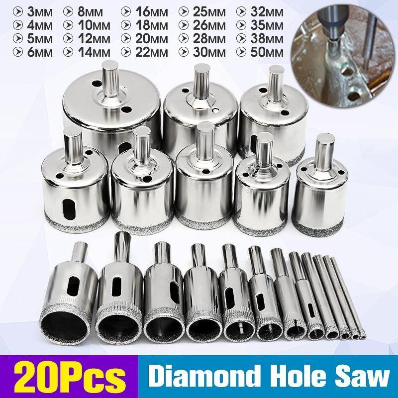 20 Pcs 3-50 Mm Berlian Mata Bor Set Pembuat Lubang Pemotong Alat Kaca Marmer Granit-Intl