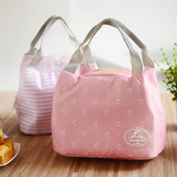 2016 best quality portable insulated tote lunch bag for women kids lunch box bag pink butterfly. Black Bedroom Furniture Sets. Home Design Ideas