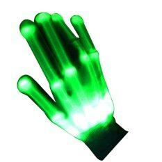 2016 New Flashing Multi-color Electro LED Gloves Light Up With Width Of The Light Guide For Party (Green) - Intl