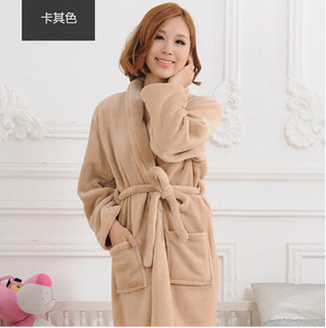 Deals For 2017 Winter Hot Lovers Bathrobe Thickened Coral Fleece Flannel Gown Ms Man Long Sleeved Pajamas L Size Intl