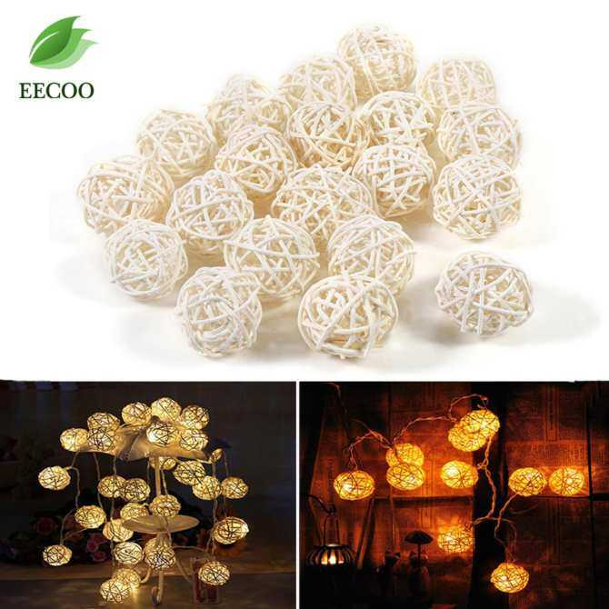 20Pcs Decorative Rattan Balls Ornaments Wedding Christmas Birthday Party Decorations (White)