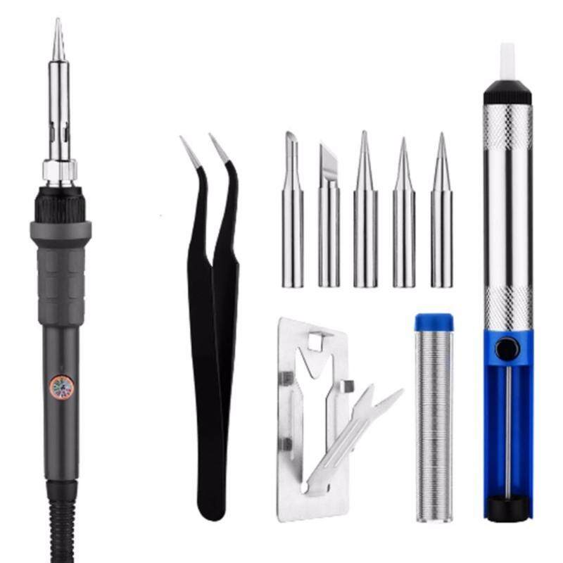 220V 60W Electric Temperature Adjustable Soldering Iron Repair Tool Kit 5pcs Iron Tips Solder Sucker Stand Solder Wire Tweezer