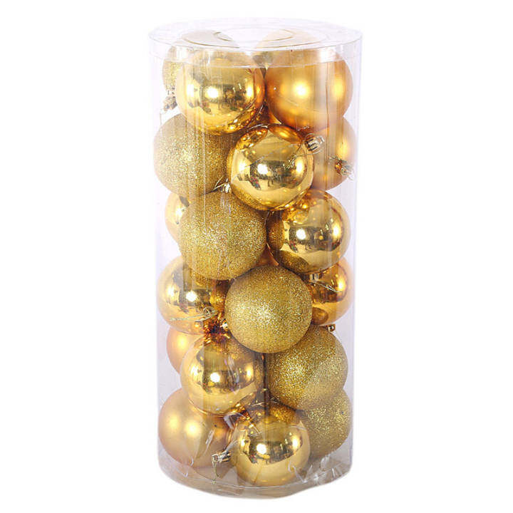 24pcs/ lot Christmas Tree Decor Ball Bauble Hanging Xmas Party Ornament Decorations For Home  Gold