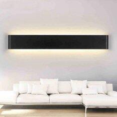 Hiqueen 24W 72cm Aluminum LED Wall Lamp Bedside Hallway Bathroom Mirror Light (Black shell,Bright white light)