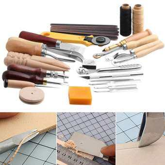 25 Pcs/Set Stitching Carving Working DIY Hand Sewing Saddle Groover Punch Tools Leather Craft Sets