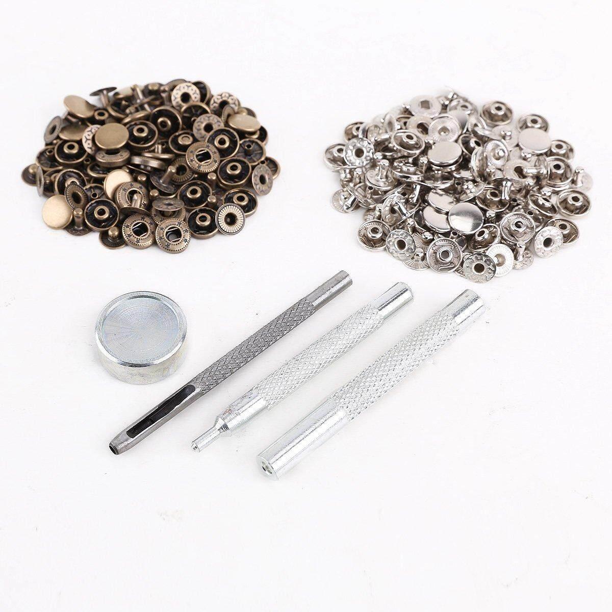25pcs silver + 25 pcs bronze 10mm Snap Button Metal + tool set for leather handbags