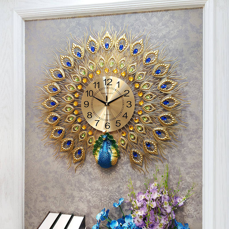 26 Inches Peacock Clock Living Room Creative Wall Decoration Clocks Home Mute Night Photoelectron Quartz Watches - intl