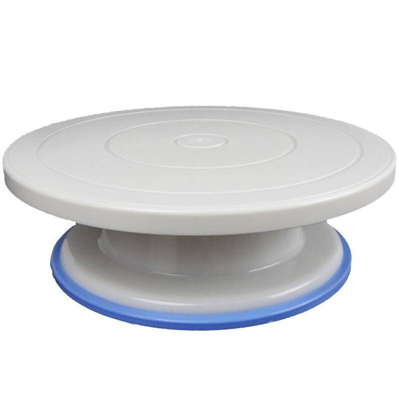 Roman 27cm Plastic Cake Turntable Rotating Cake Decorating Turntable Anti-skid Round Cake Stand Cake Rotary Table - intl