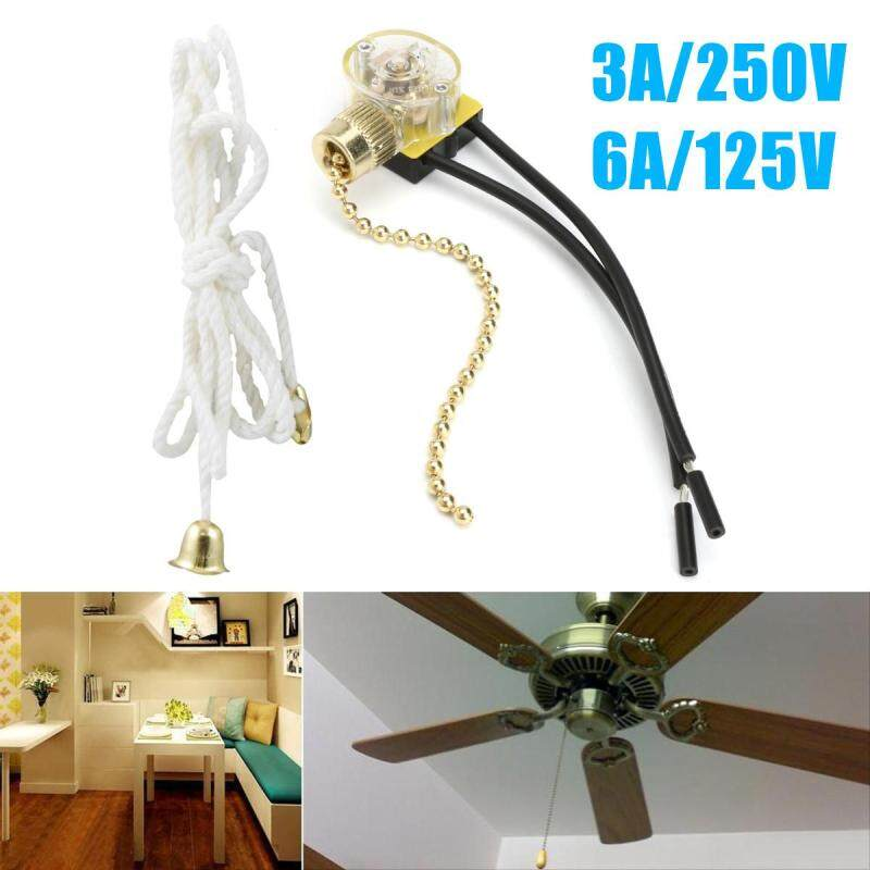 2Pcs 3A/250V 6A/125V Lighting Ceiling Fan Pull Chain Switch 2 Wire Connector