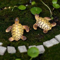 2Pcs DIY Miniature Bonsai Fairy Garden Landscape Sea Turtle Decor Brown