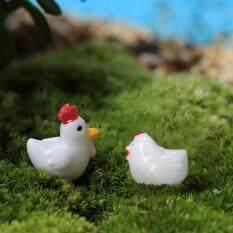 2pcs Hen Rooster Miniature Dollhouse Bonsai Fairy Garden Resin Landscape Décor White