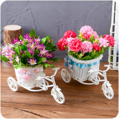(2PCS) Home Decorations Decoration , Simulation Rattan Pots ,three Rounds  Of Bicycle Floats