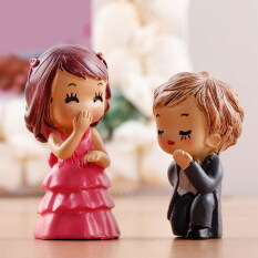2Pcs Lovely Couple Miniature Dollhouse Fairy Garden Bonsai DIY Decor Crafts Multi