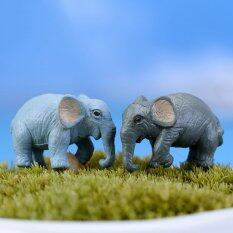 Mecola 2pcs Miniature Dollhouse Bonsai Fairy Garden Micro Landscape Elephant Decor Multi