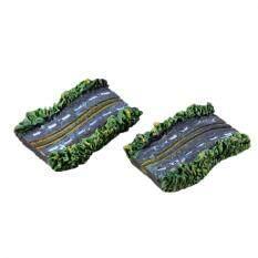 2Pcs Miniature Dollhouse Bonsai Garden Landscape Asphalt Road Craft Decor Multi 2*3cm
