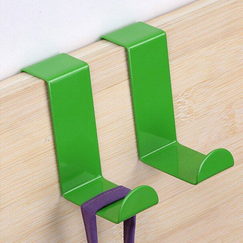 2pcs Over Door Hook Coat Hooks Rack Heavy Duty Reversible Brushed Stainless Steel Green