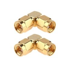 2pcs SMA Male to Male Right Angle 90-Degree Adapter Gold Plated Connector
