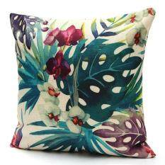 2pcs Tropical Plant Flamingo Cotton Linen Throw Pillow Case Cushion Cover Home Decor