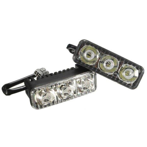 DRL Xe Công Suất Cao Màu Trắng 2X3 LED Đèn Chạy Ban Ngày, Đèn Sương Mù, Phổ Biến 12V-Đen-