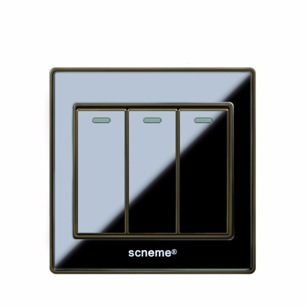 3 gang 2 way Black color Acrylic panel light switch and 250V wall switch - intl