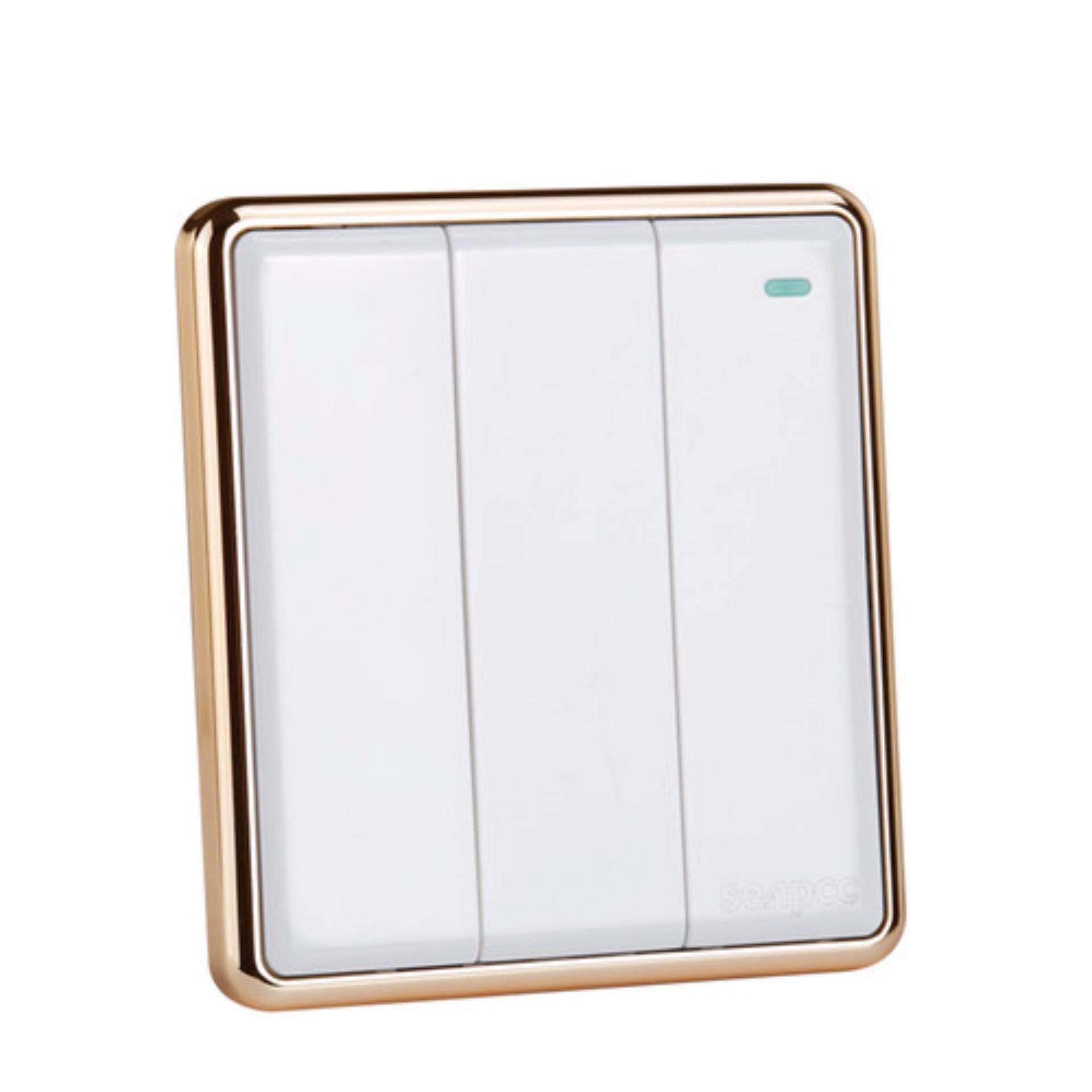 3 gang 2 way White color light switch and 250V wall switch - intl