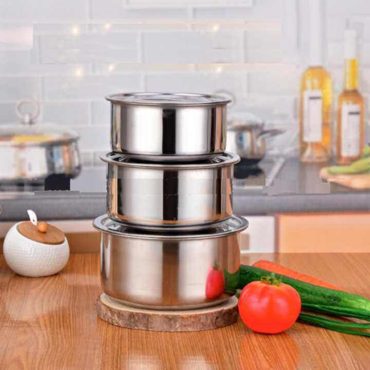 3 in 1 Conditioning Stainless Steel Pot (15cm,17cm,19cm)