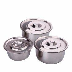 3 In 1 Conditioning Stainless Steel Pot (15cm,17cm,19cm) By Osaka Global Marketing.