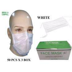 3 Layer Non Woven Disposable Anti-Dust Tie On Surgical Medical Face Mask Mouth White (50 Pieces X 3 Boxes)