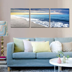 3 Panels 40x40cm Wall Art Pictures Beach Sandy Sea Wave Seascape Oil Painting on Canvas for Room Decor Living Room Decoration
