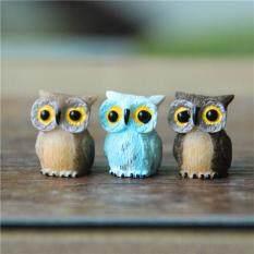 3 PCS Bonsai Decoration Resin Owl Figurine Miniature Micro Landscape Mini Garden Accessories