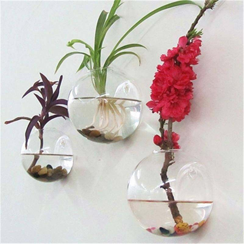 3 Pcs Semicircular Wall Hanging Glass Vase Hydroponic Terrarium Fish Tank Plant Flower Vases