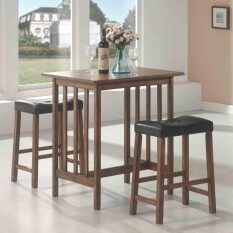 3-Piece Breakfast Table And Stools Set In Nut Brown / Kitchen Counter Height Dining Set Table Chair By Zoromees.