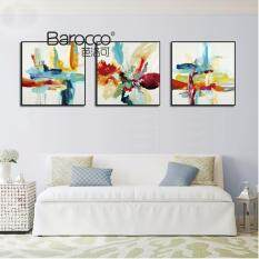 3 Pieces hand painted abstract summer flower oil painting modern home decoration gift - intl