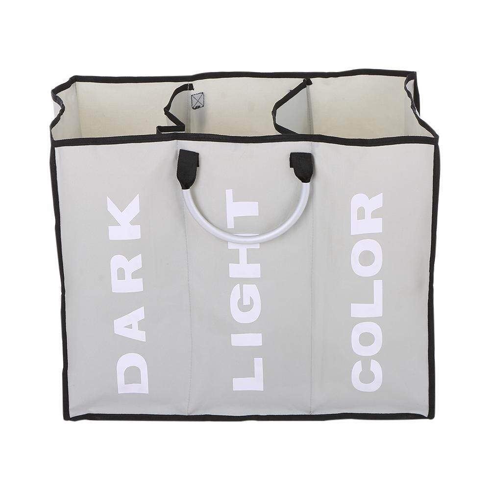 3-Section Large Foldable Oxford Laundry Basket Bag Dirty Clothes Storage Bag Organizer With Aluminum Handles - Intl By Tomtop.