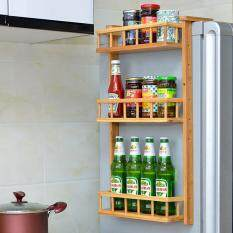 3-Tier Multi-Purpose Simple Wooden Refrigerator Hanging Rack Side Shelf Sidewall Holder Multi Purpose Spice Space Crack Storage Estante Fridge Kitchen Organizer By Liuyin Company.