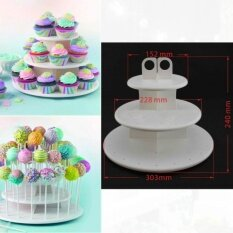 Low Cost 3 Tiers Cake Pop Cupcake Stand Holder Tower Lollipop Holder Cake Size One Size Color White