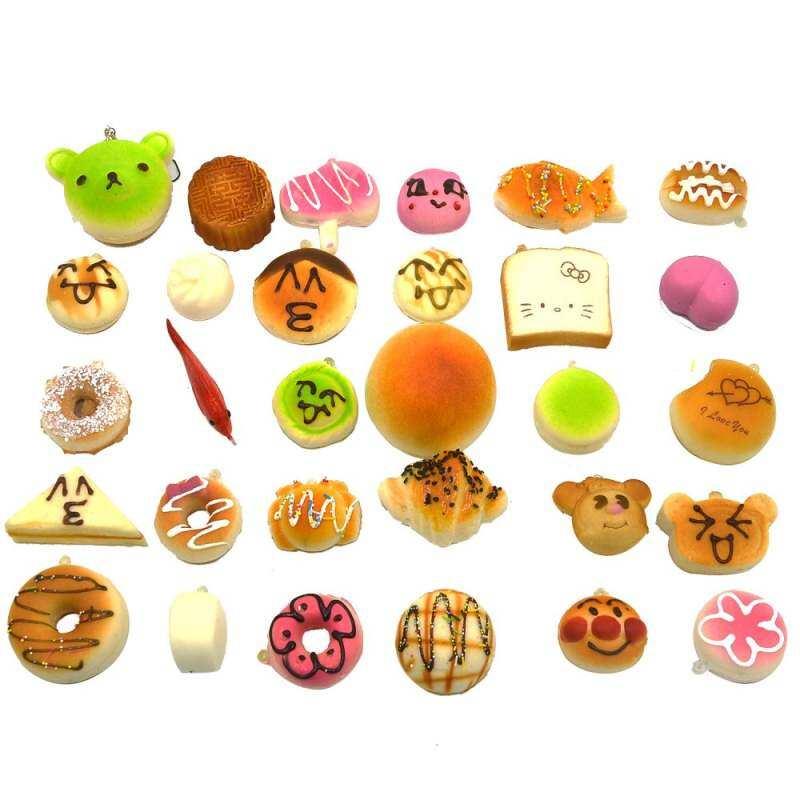 FF8866YY 30 Pcs Fashion Kawaii Mini Squishy Soft Simulated Food Panda Bread Cake Style Key Ornaments
