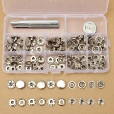 30 Sets 15mm Silver Snap Fasteners Popper Press Stud Button Leather Tool Kit