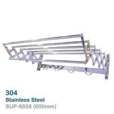 304 Stainless Steel Adjustable Towel Bar With Hooks SUP 8858 600mm (Chrome)