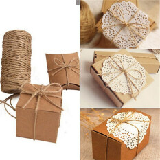 Mecola 33M Christmas Hemp Rope Cord Marline for Wedding Favors Candy Boxes DIY Decor Brown intl