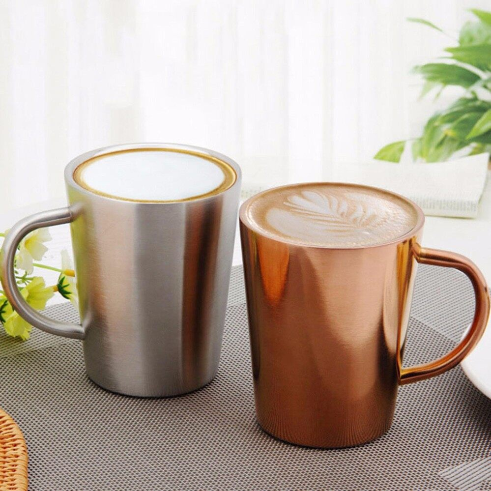 Buy High Quality Coffee Cups Tableware Lazada Stainless Steel Travel Collapsible Cup 350 Ml Couples Copper Plated Double Layers 304 Temperature Resistance