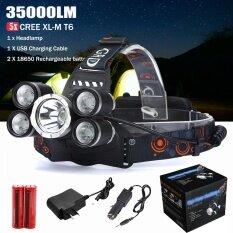 35000LM 5x XM-L T6 LED Headlamp Headlight Flashlight Head Light Lamp 18650 Black