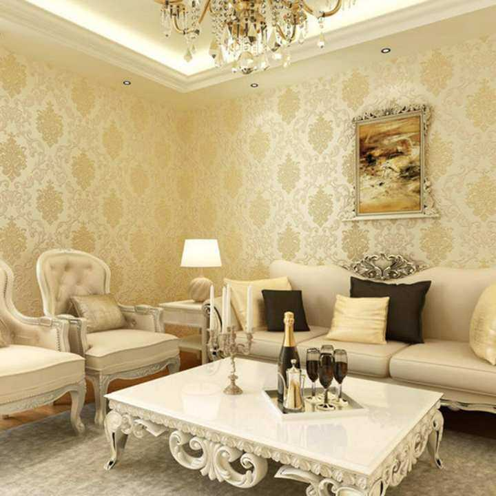 360DSC 10M Nonwovens Simple European Style 3D Wallpaper Crochet Stickers Decal Wall Paper Roll - Beige