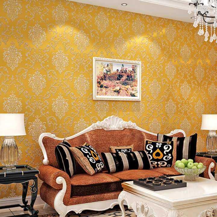 360DSC 10M Nonwovens Simple European Style 3D Wallpaper Crochet Stickers Decal Wall Paper Roll - Golden
