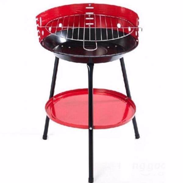 36cm Portable Round Outdoor Charcoal BBQ Grill Barbeque Non electrical -RED